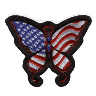 USA Schmetterling Aufnäher 9x9cm Butterfly Patch Amerika Flagge Weste Ärmel Top