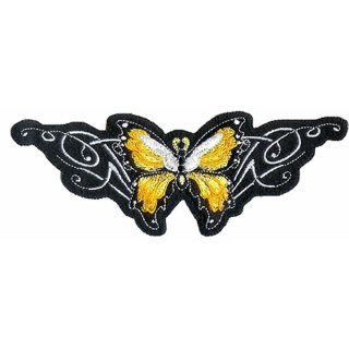 Aufnäher Schmetterling Gelb Tribal 16x6 cm Yellow Butterfly Patch Chic Shirt