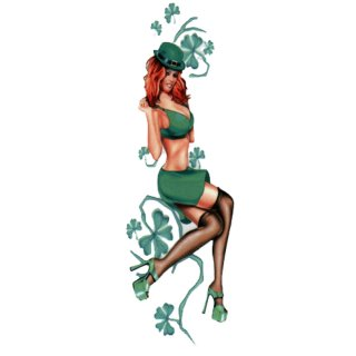 Irisches Pin Up Girl Aufkleber 20x6cm Irish Lass Decal Sexy Helm Tank Quad Trike