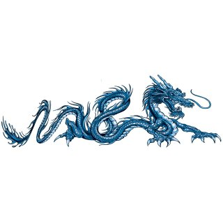 Airbrush Aufkleber XL Drachen Blau Rechts 42x14cm Blue Dragon Right Decal Tank