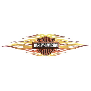 Harley Davidson Aufkleber Bar + Shield Flammen 20 x 6cm AirbrushTank Sticker