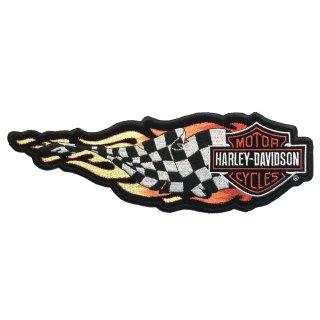 Aufnäher Harley Davidson Siegesfahne mit Flammen 25 x 8 cm Patch Flaming Banner