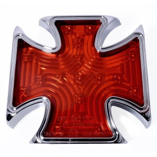 Rücklicht Chrom LED  Malteser Eisernes Kreuz Iron Cross Universal Chopper ECE