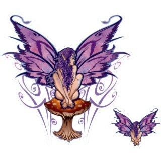 Aufkleber Set Pin Up Girl Fee mit Flügeln 10x11cm Winged Fairy Decal Märchen