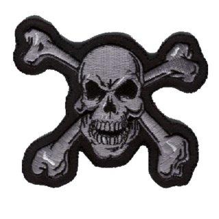 Totenkopf mit Knochen Aufnäher 10x10cm Skull N Bones Patch Shirt Ärmel Jacke