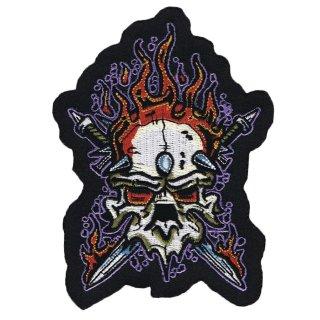 Böser Totenkopf Mirach mit Flammen Aufnäher 13x9 cm Heavy Metak Skull Patch Neu