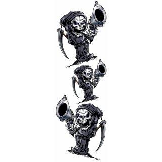 Aufkleber Set Totenkopf Sensemann Revolver Pistole Reaper Gun Decal Helm Bike