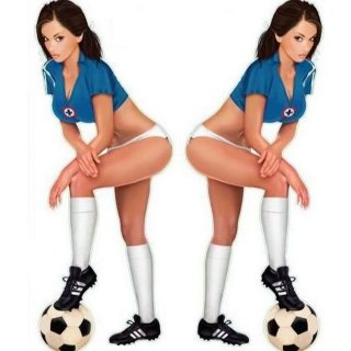 Fussballspielerin Pin Up Girl Aufkleber Set 17x6cm Soccer Babe Decal Italia Hot