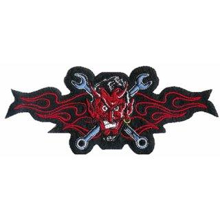 Teufel mit Schraubenschlüssel Aufnäher 16x6cm Flammen Rot Wrench Devil Patch Top