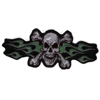 Green Flame Skull Patch