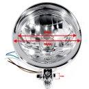"""5¾"""" Scheinwerfer Chrom H4 Klarglas Universal ECE plain Design f. Harley-Davidson"""