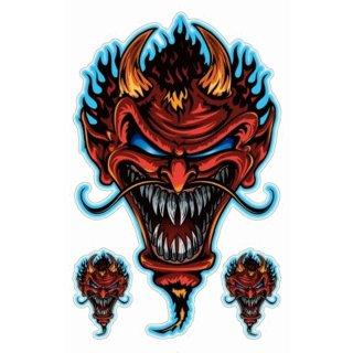 Aufkleber Set Teufels Zombie Devil Sticker Airbrush Grausam Böse Helm 10x6 cm
