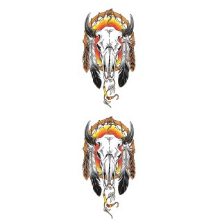 Aufkleber Set Büffel Totenkopf Traumfänger Cow Skulls 10 x 6 cm Decal Sticker