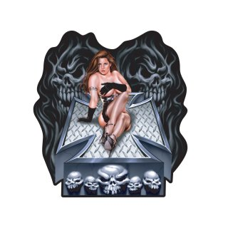 Aufkleber Pin Up Girl auf Iron Cross mit Totenkopf XL Mistress of Seduction