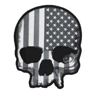 Aufnäher USA Totenkopf Skull Patch XL Rücken Jacke grau Gray 30 x 25 cm