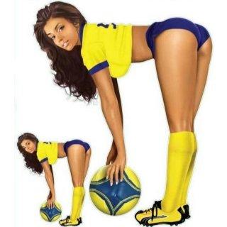 Fußballspielerin Blau Gelb Pin Up Girl Aufkleber Soccer Girl Blue Yellow Decal