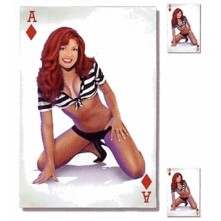 Aufkleber Set Karo Ass Pin Up Girl Sexy 16x11cm Ace of Diamonds Babe Decal Helm