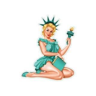 Aufkleber Liberty Pin Up Girl Freiheitsstatue USA Sexy Blond Grün Top Neu