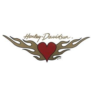 Harley Davidson Aufkleber Herz Flügel 16 x 6 cm Ladies Heart Sticker Gold HD
