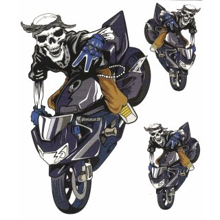 Aufkleber Set Todes Vollbremsung 16 x 10 cm Death Stop Decal Totenkopf Sticker