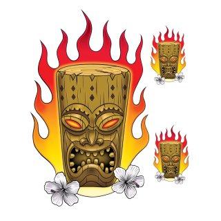 Aufkleber Set Flammen Schnitzkunst 16 x10 cm Flaming Tiki Decal Holz Sticker