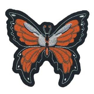 Oranger Schmetterling Aufnäher 9x10cm Butterfly Patch Chic Patches Ärmel Jacke