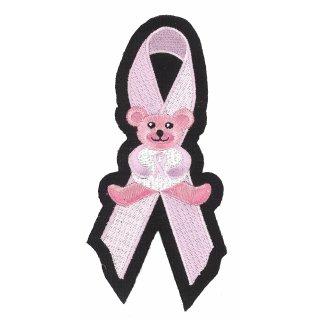 Rosa Bärchen auf Schleife Aufnäher 15x7cm Pink Ribbon Bear Patch Weste Arm Jacke