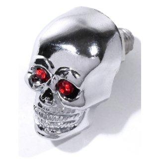 Totenkopf Skull Schrauben Kennzeichen Metall Chrom Rot klein Chopper Custom 25mm