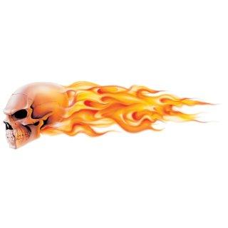 Aufkleber Brennender Totenkopf Links Airbrush
