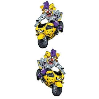 Aufkleber Set Joker auf Bike Gelb 10x6cm Yellow Jester Sportbike Decal Sportbike