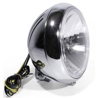 "7"" Scheinwerfer Chrom H4 Transparent Grooved f Harley Davidson Softail Universal"