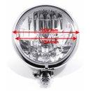"""5¾"""" Scheinwerfer Chrom H4 Klarglas Bates-Style für Harley Suzuki Universal"""