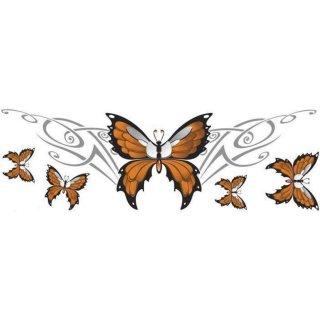 Aufkleber Set Schmetterling orange 20 x 6  cm Butterfly Airbrush Tank Helm