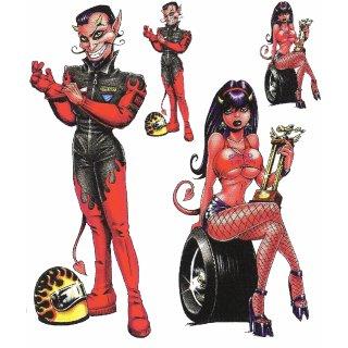 Straßen Teufel Pärchen Aufkleber Set Strett Devil Couple Decal Sticker Hot Demon