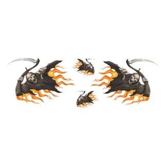 Aufkleber Set XL Fliegender Totenkopf Sensemann mit Flammen Flying Reaper Decal