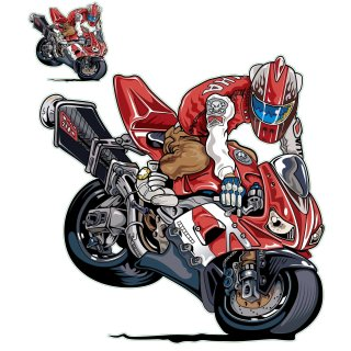 Streetfighter Rot Aufkleber Set Endo Guy 15x13 cm Decal Sticker f. Suzuki Yamaha