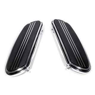 Trittbretter Chrom Floorboards Streamliner Shaker für Harley-Davidson HD schwarz
