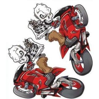 Aufkleber Set 14 x 10 cm Streetfighter Totenkopf Rot Wheelie Skull Red Yamaha