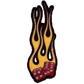 Brennende Würfel Aufnäher 15x6cm Flaming Dice Patch Flammen Rot Gold Weste Jacke