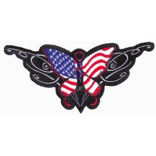 USA Schmetterling Aufnäher 15x7cm Butterfly Patch Amerika Flagge Weste Rücken