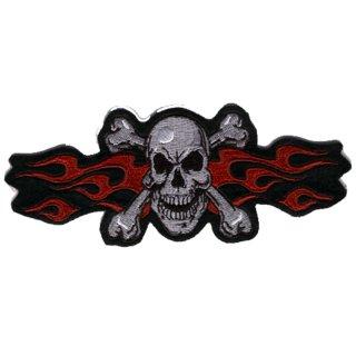 Aufnäher Flammen Totenkopf Rot 16x6 cm Red Flame Skull Patch