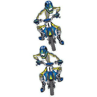 Aufkleber Set Blaue Enduro 11x6cm Blue Moto Cross Decal Set Suzuki Honda Yamaha