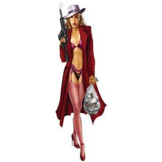 Aufkleber Sexy Gangster Braut Pin Up Girl 20 x 6 cm Hot Rod Decal Sticker String