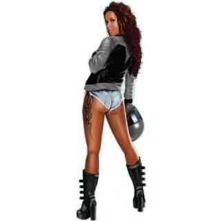 Motorrad Braut Pin Up Girl Grau Aufkleber 21x6 Urban Biker Gray Babe Decal Helm