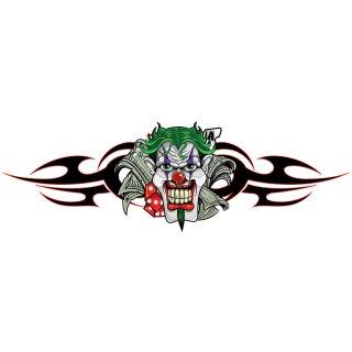 Tribal Zocker Clown Aufkleber 21x6cm Money Jester Decal $ Würfel Tank Airbrush