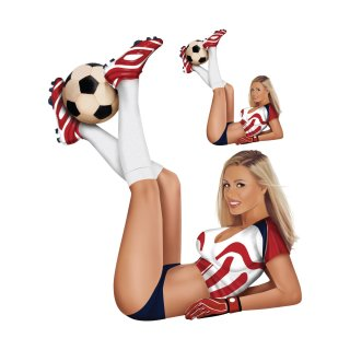 Aufkleber Pin Up Girl Fußball Rot Weiß sexy Figur blond Deutschland Erfurt FAN