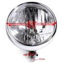 """6½"""" Scheinwerfer Chrom H4 Transparent Fat Style für Harley Chopper Universal ECE"""