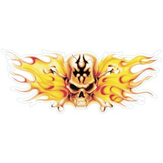 AUFKLEBER AIRBRUSH TANK FLAME SKULL CENTER TOTENKOPF FLAMMEN XL STICKER DECAL