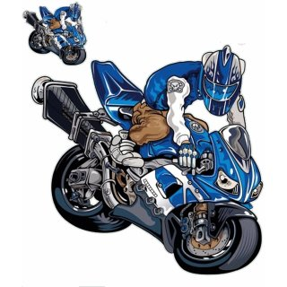 Streetfighter Blau Aufkleber Set Endo Guy 15x13 cm Decal Sticker f Suzuki Yamaha