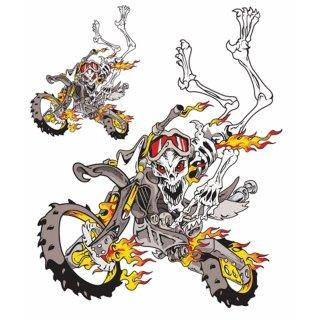 Motocross Skelett Enduro Totenkopf Skull Aufkleber Set Decal Sticker 17x13cm Top